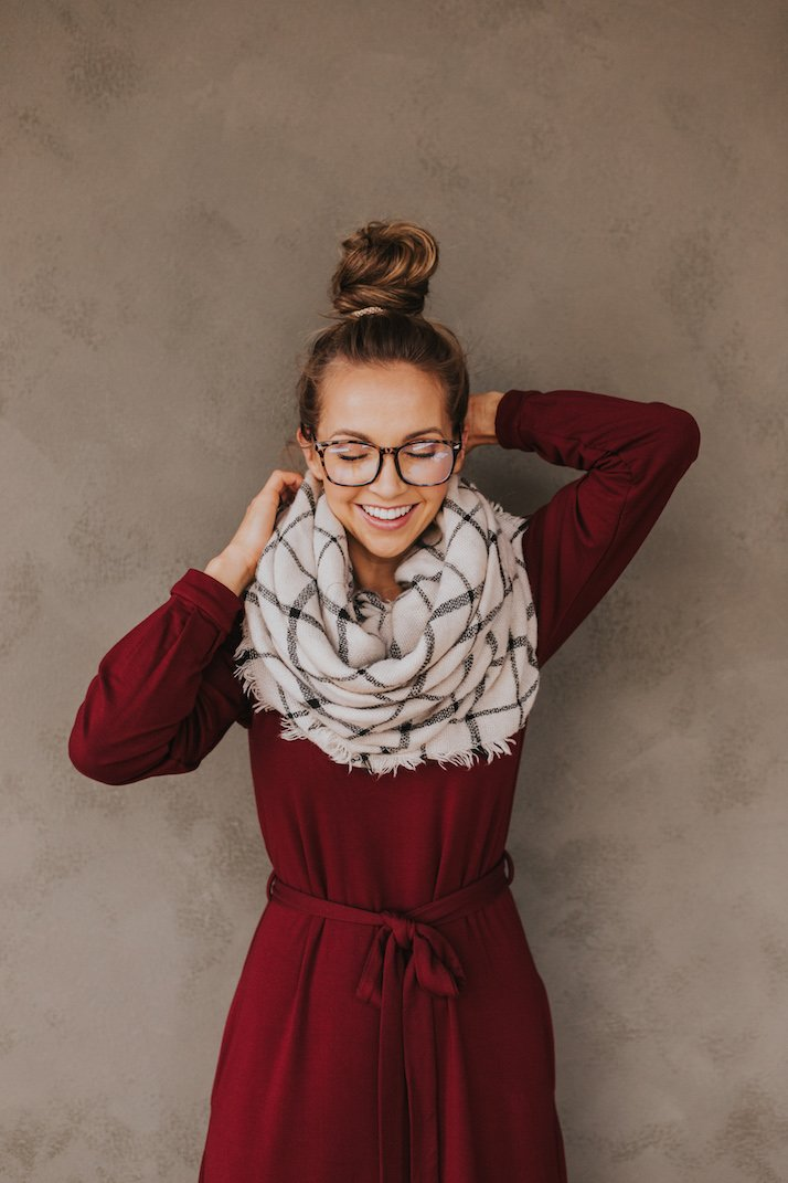 top knot and blanket scarf with a dark red dress