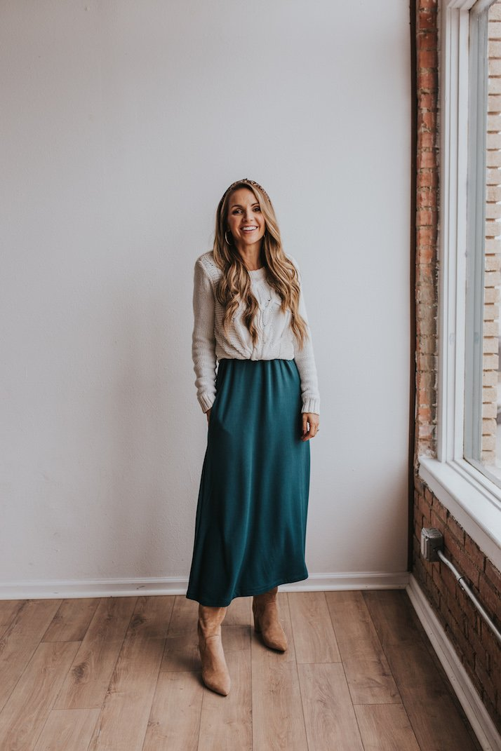 layering shirts - teal dress with sweater over the top