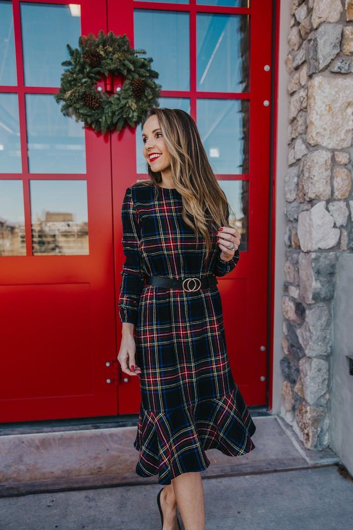 plaid christmas dress with black belt