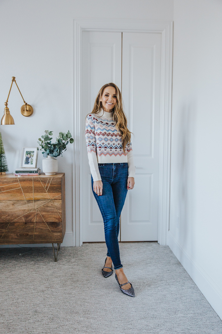 fair isle sweater blue jeans and pointed sparkle flats