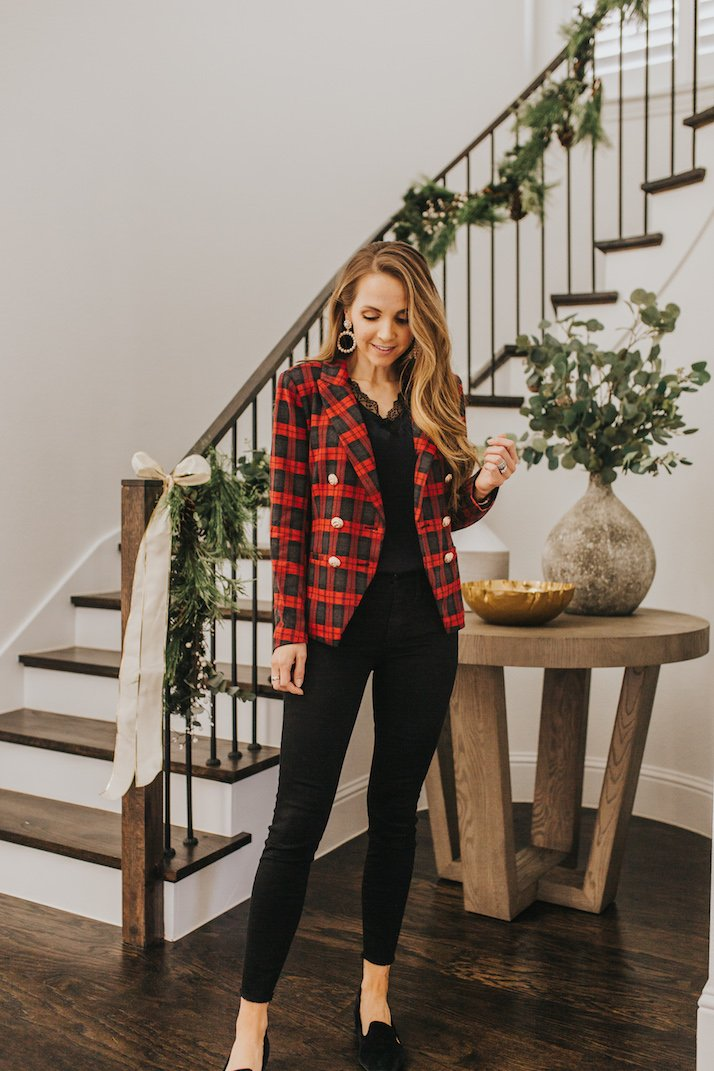 red plaid blazer with black jeans