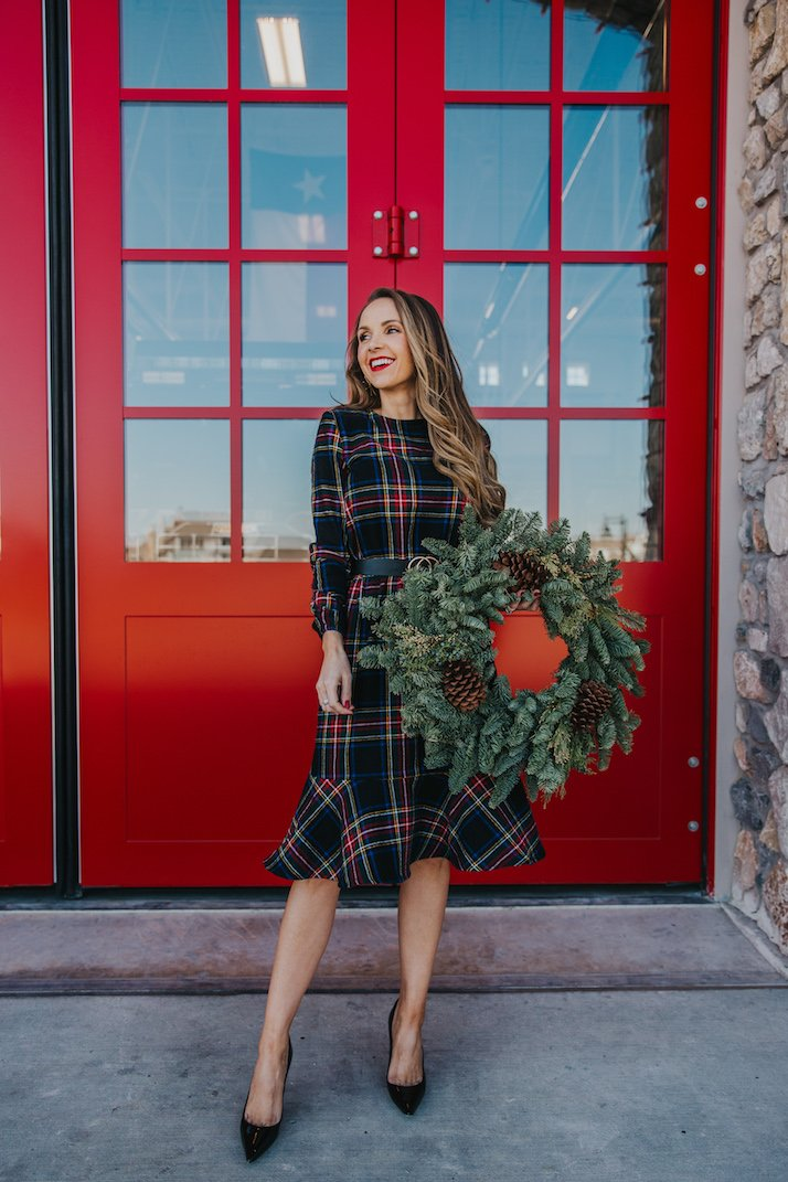 plaid christmas dress with red doors