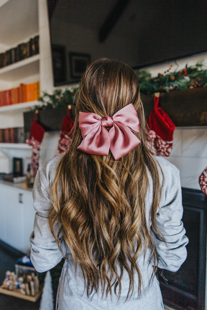 pink silk hair bow with curls