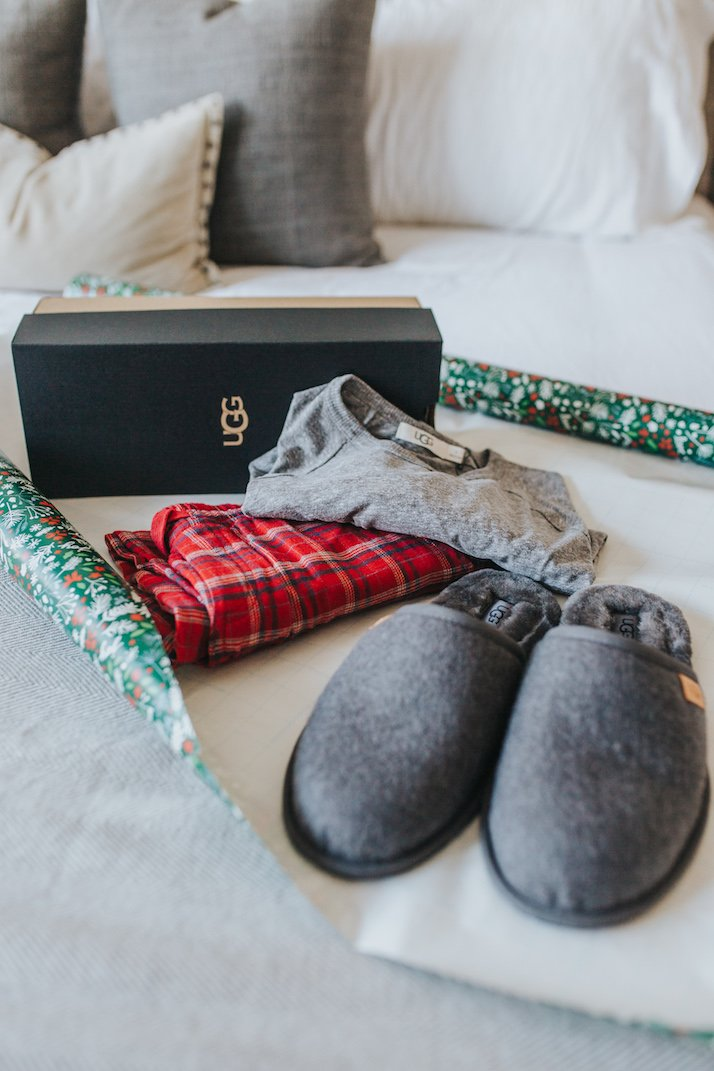slippers and pajamas on wrapping paper