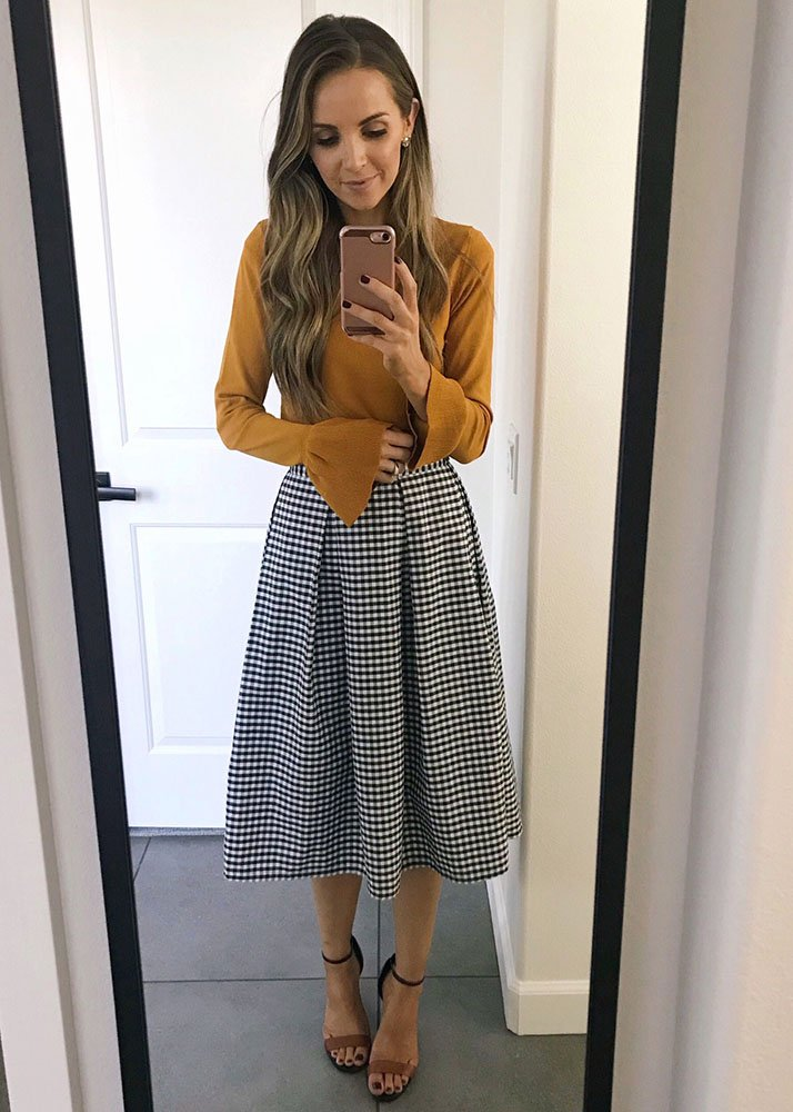 Checked skirt and sweater