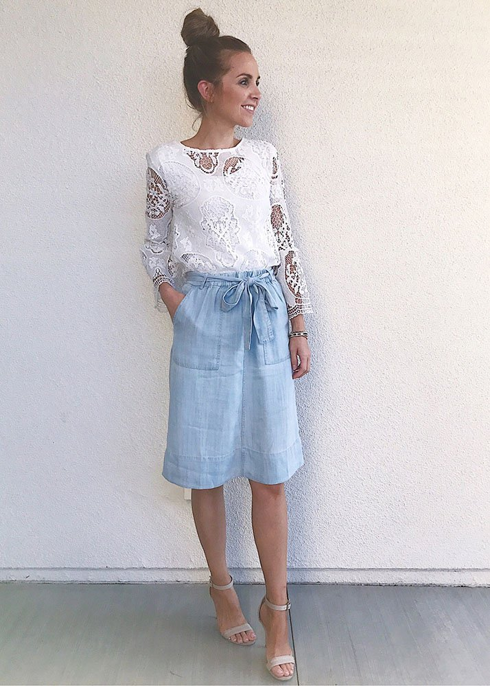 Strap heels and chambray skirt
