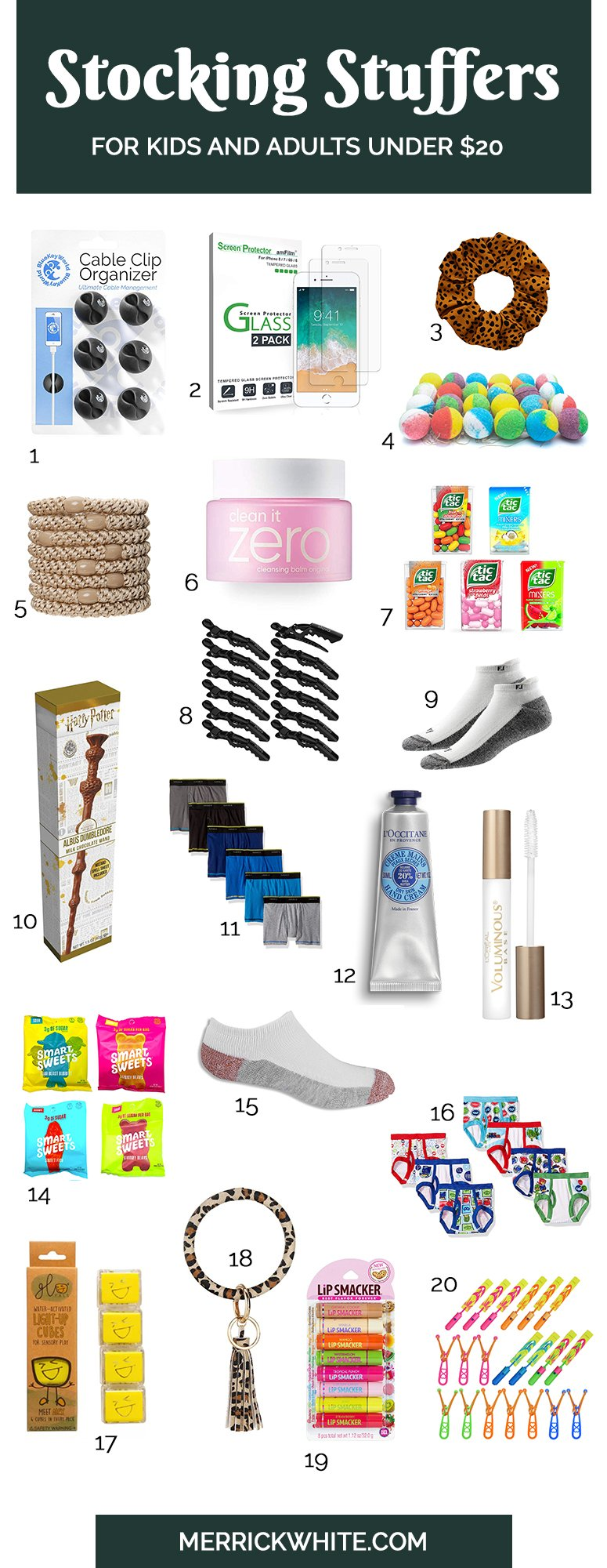 collage of stocking stuffer ideas
