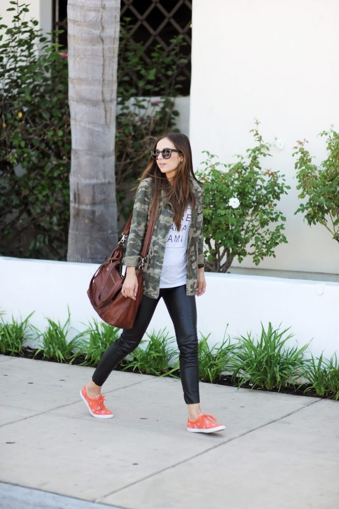 leather leggings with a graphic tee