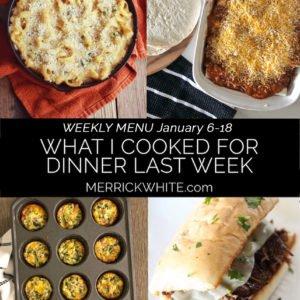 collage of weekly menu items
