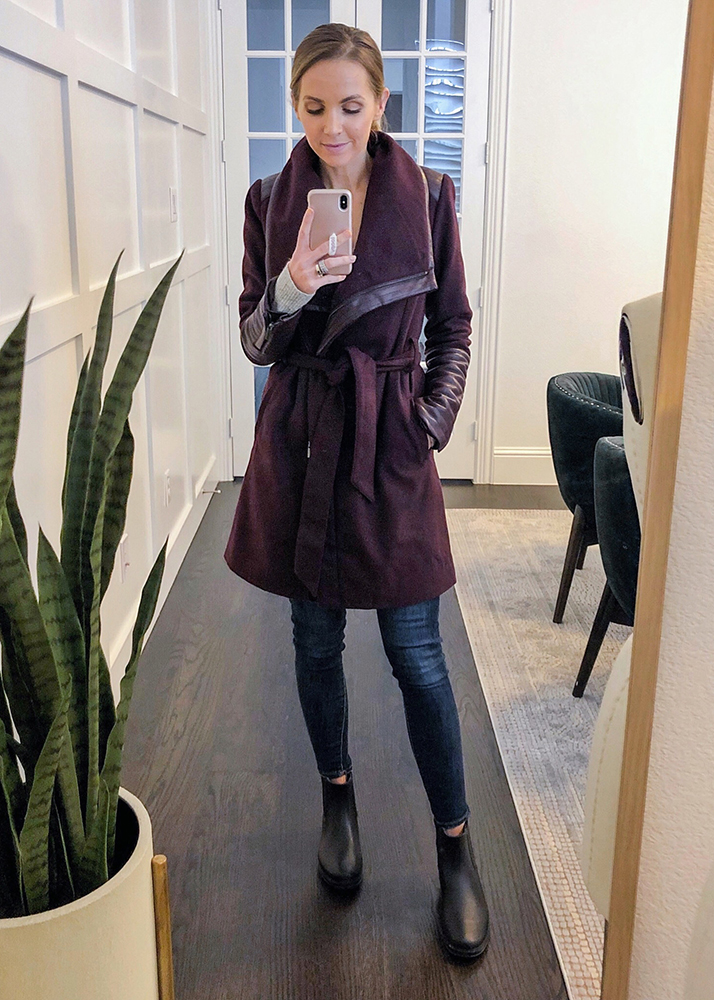 belted jacket with jeans