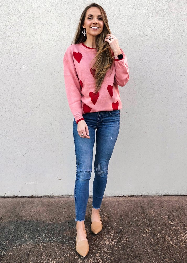 pink heart print sweater and jeans
