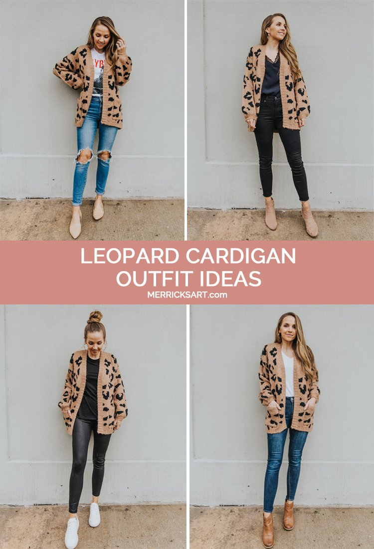 collage of leopard cardigan outfits