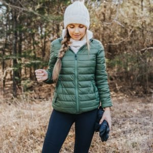 green puffer coat for running