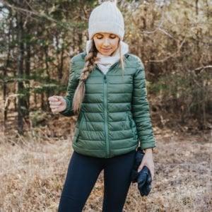 green puffer coat for running