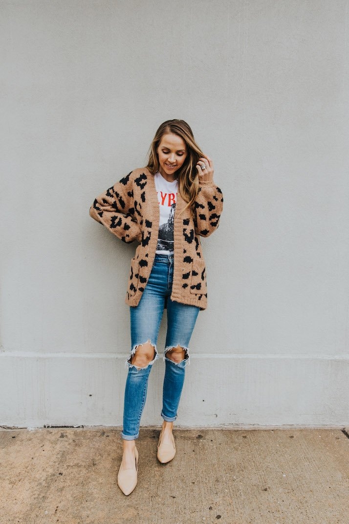leopard cardigan with graphic tee and distressed jeans