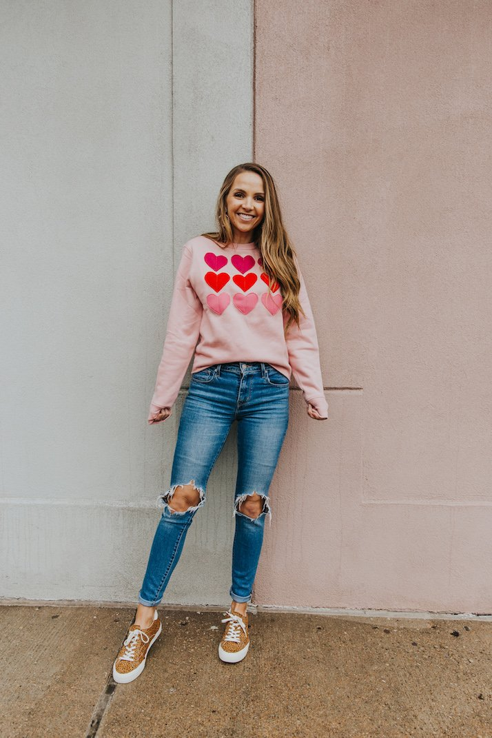 ombre pink sweatshirt for Valentine's Day