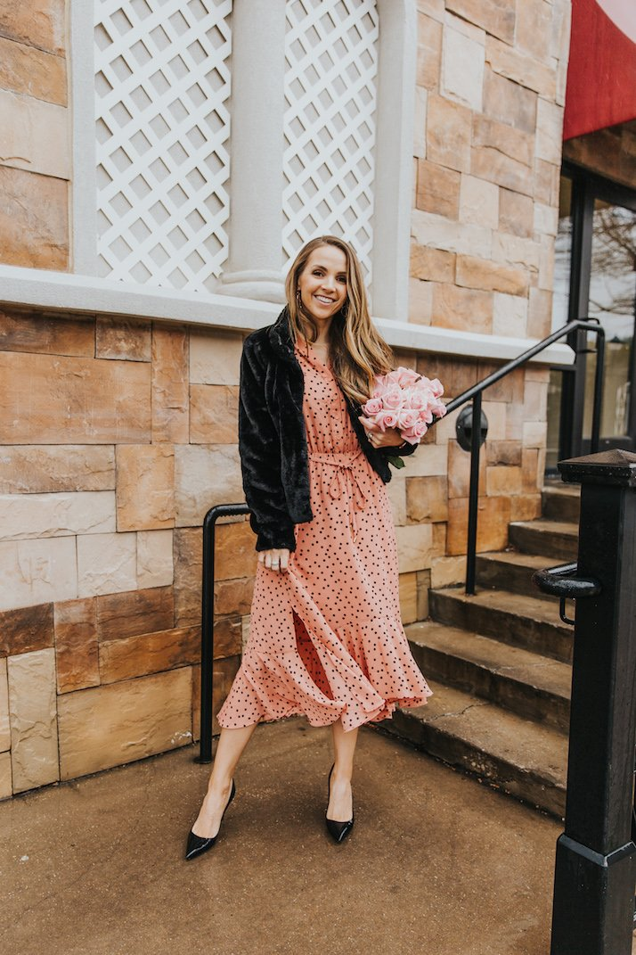 asos polka dot pink dress and black fur jacket