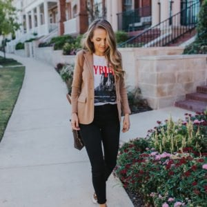 graphic tee with black jeans and blazer