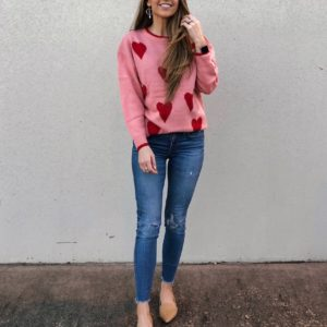 pink heart sweater women
