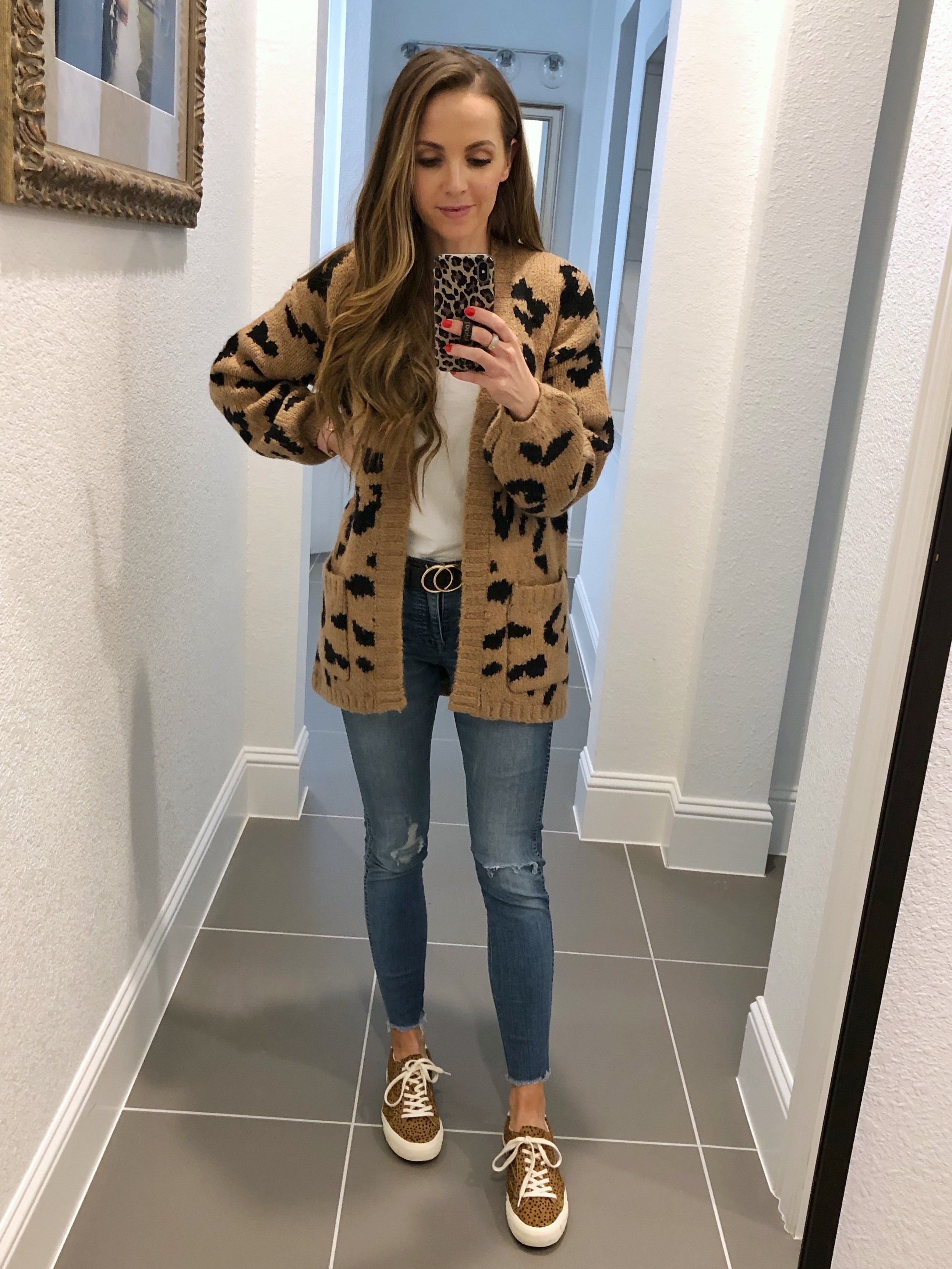 leopard cardigan and leopard sneakers