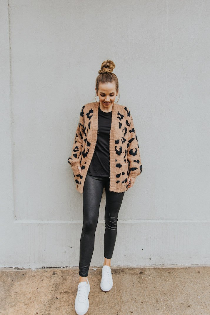 leather leggings with leopard cardigan