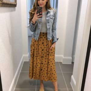 polka dot skirt and striped tee