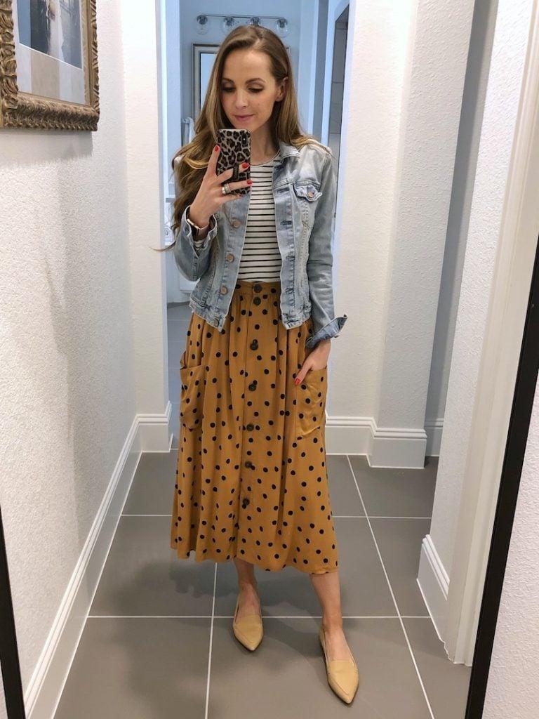 polka dot skirt and striped tee