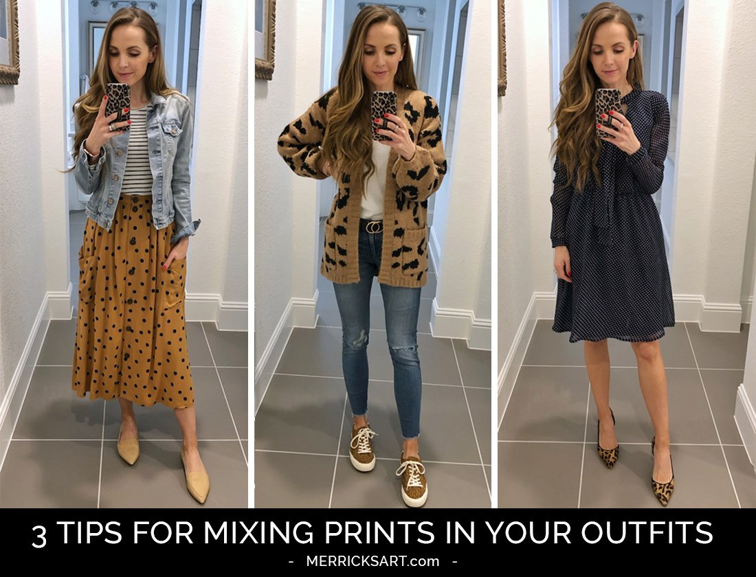 collage of print mixing outfits