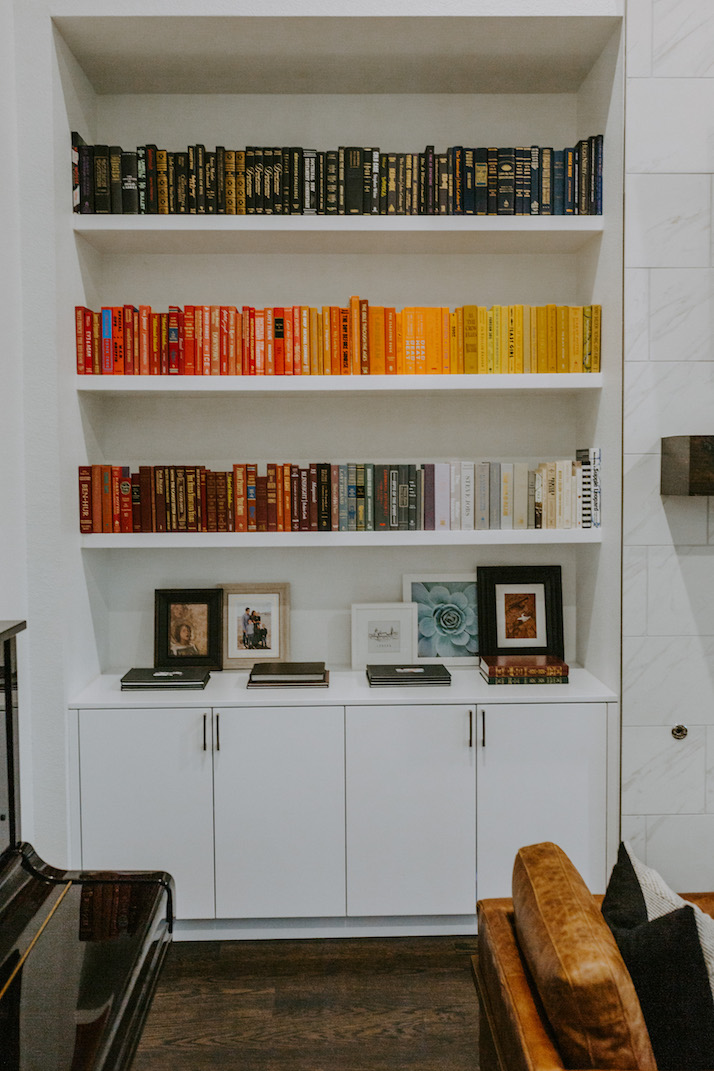 red and yellow rainbow bookshelf
