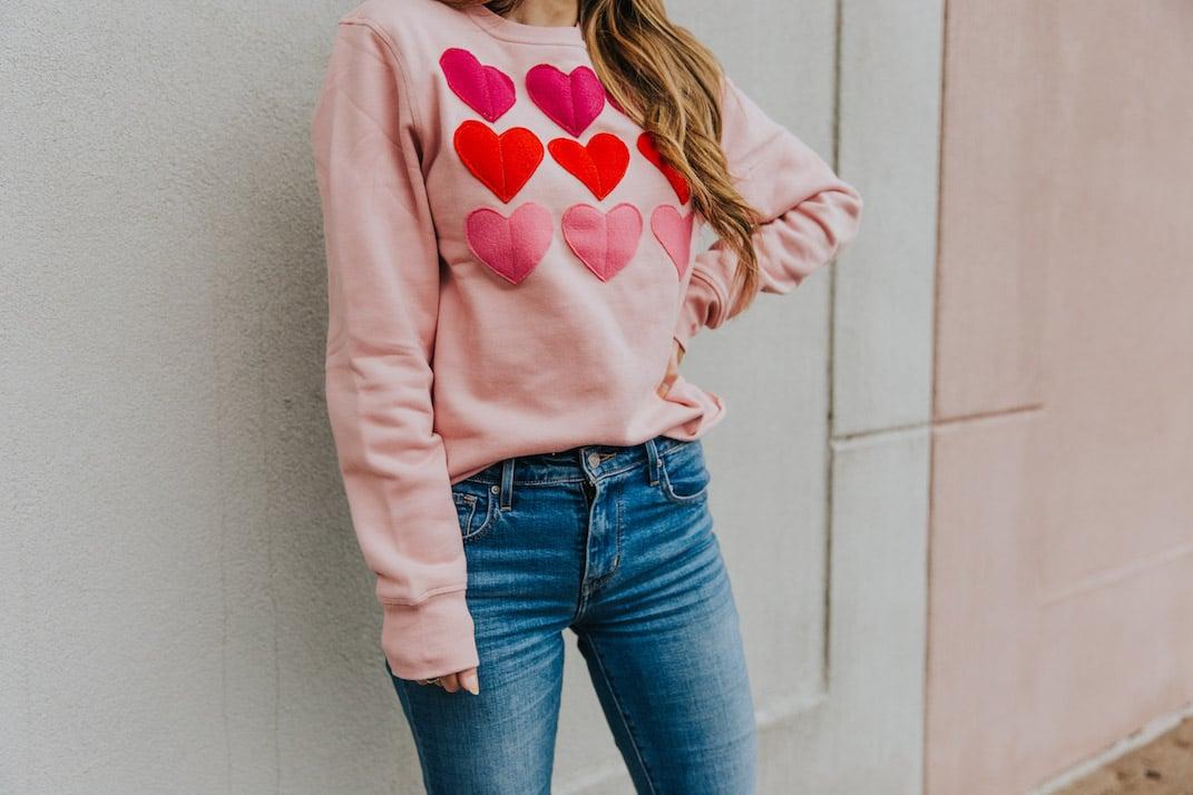 ombre heart sweatshirt