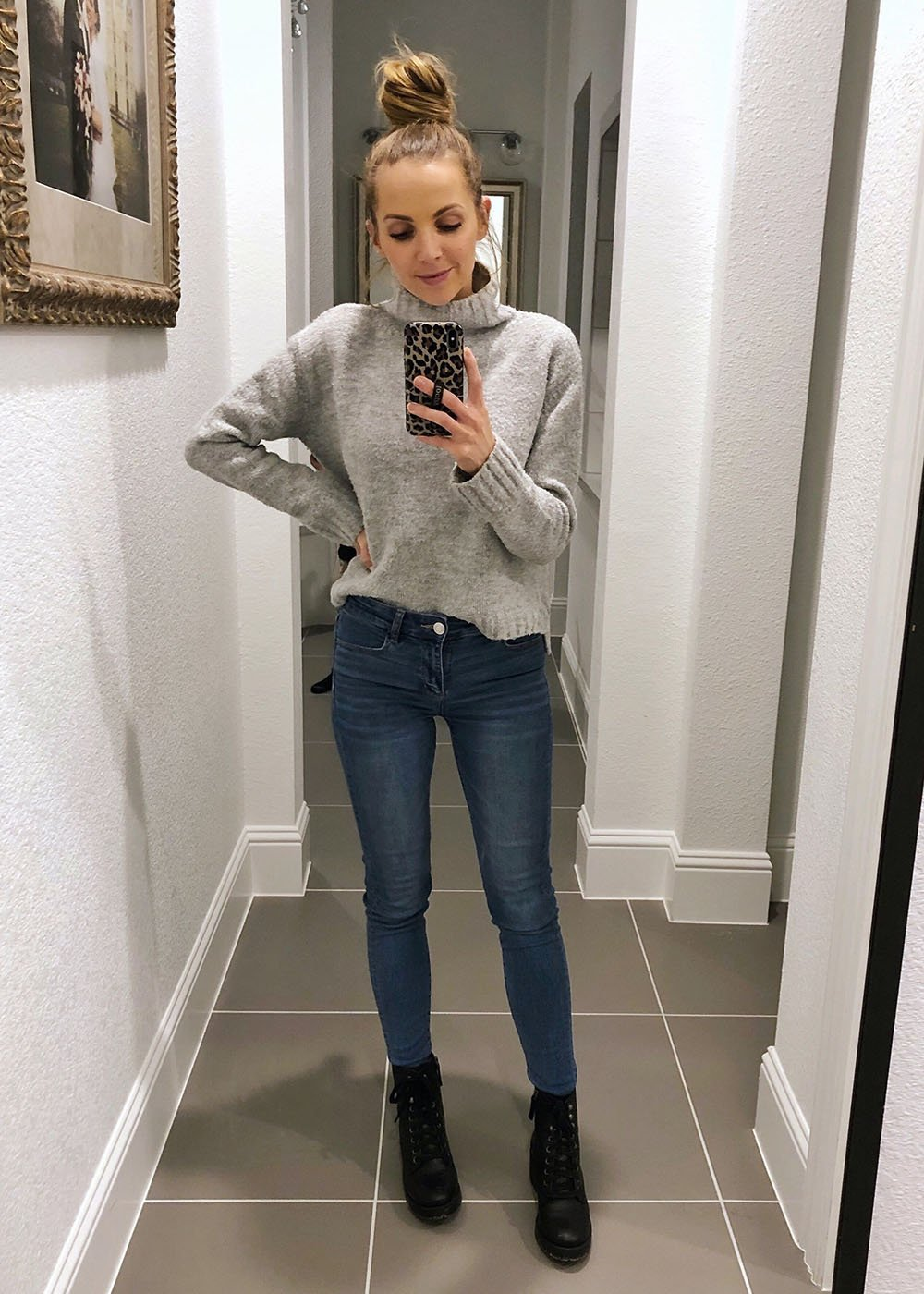 Gray turtleneck and jeans