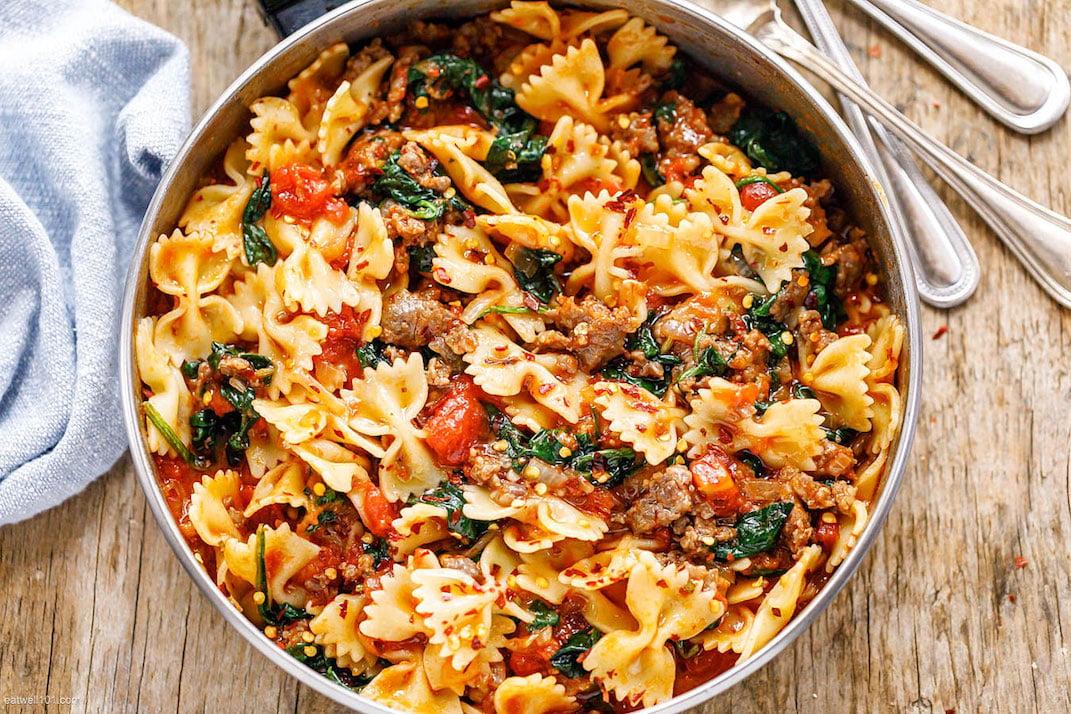 tomato spinach sausage pasta