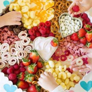 valentine's day snack tray