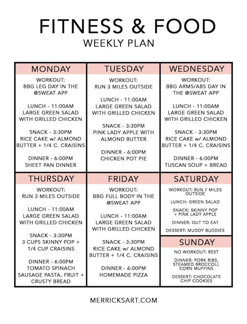 chart with exercise schedule and daily meals