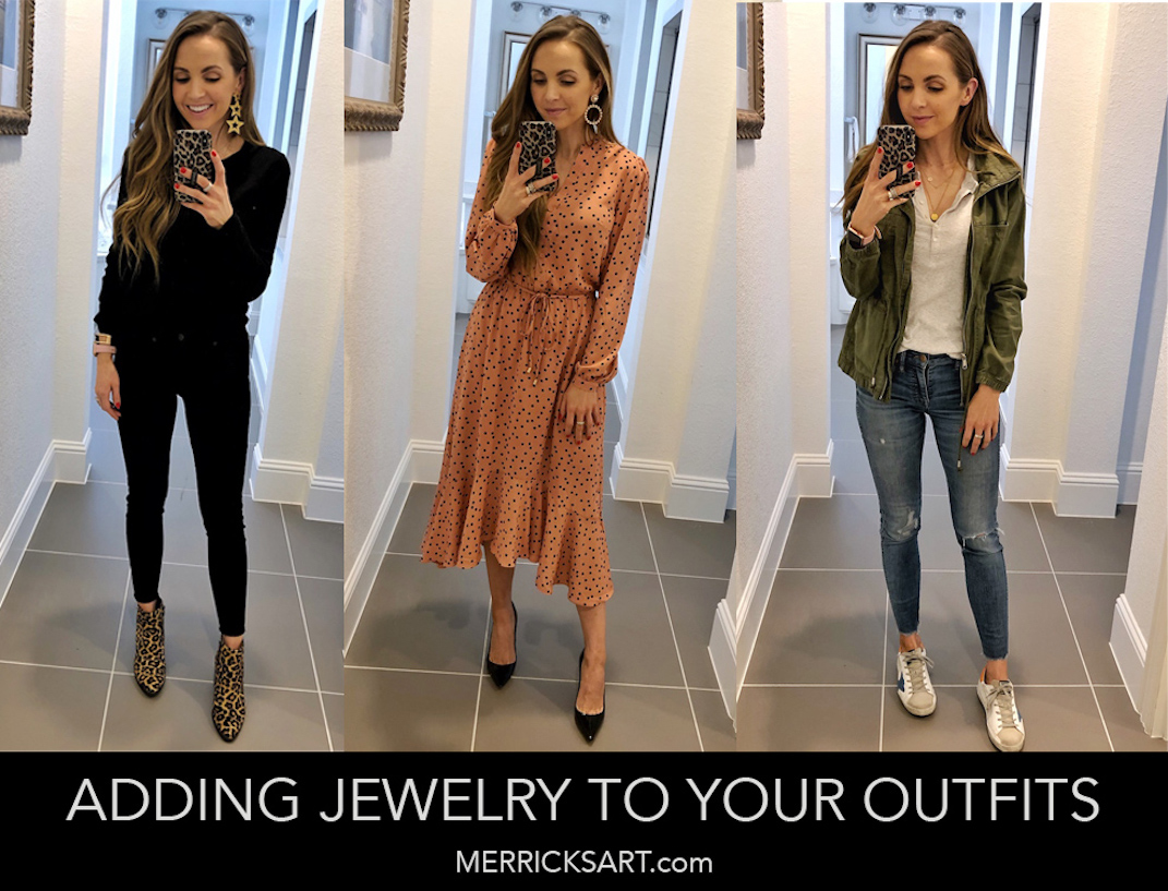 three outfits collage with jewelry