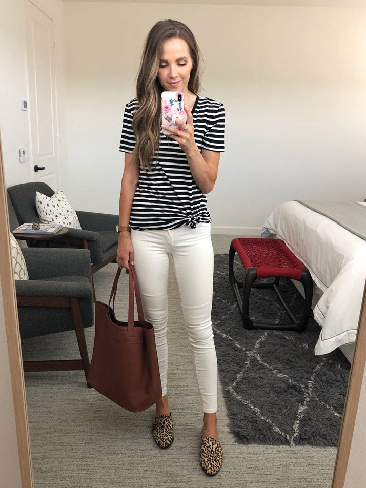 striped t-shirt and white jeans
