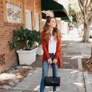 Cardigan sweater with white t-shirt and jeans