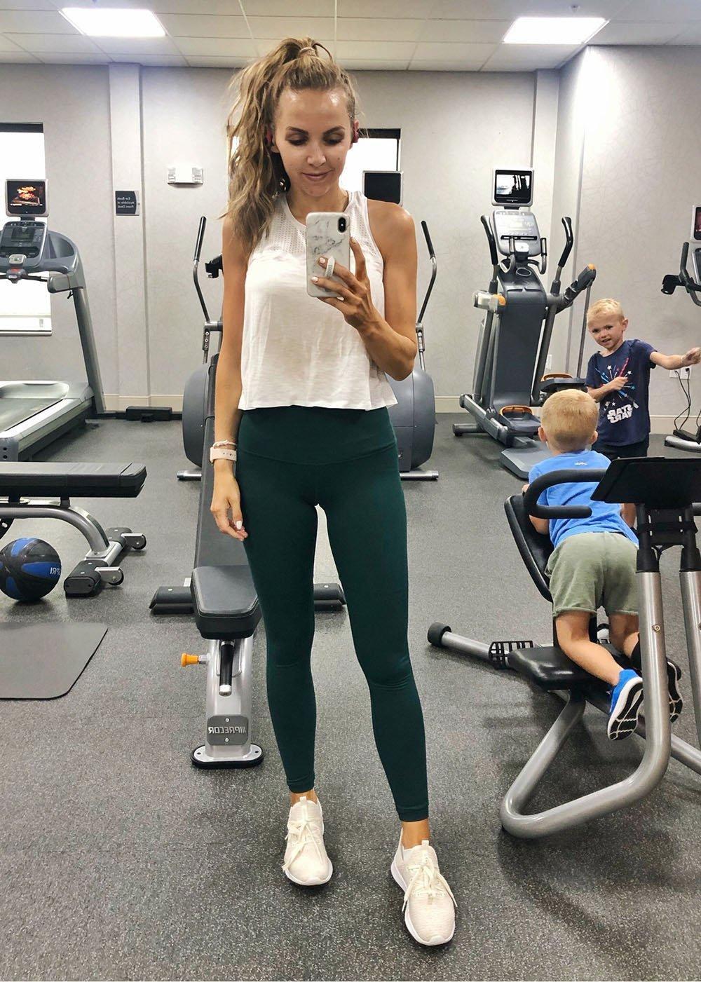 white tank and green leggings