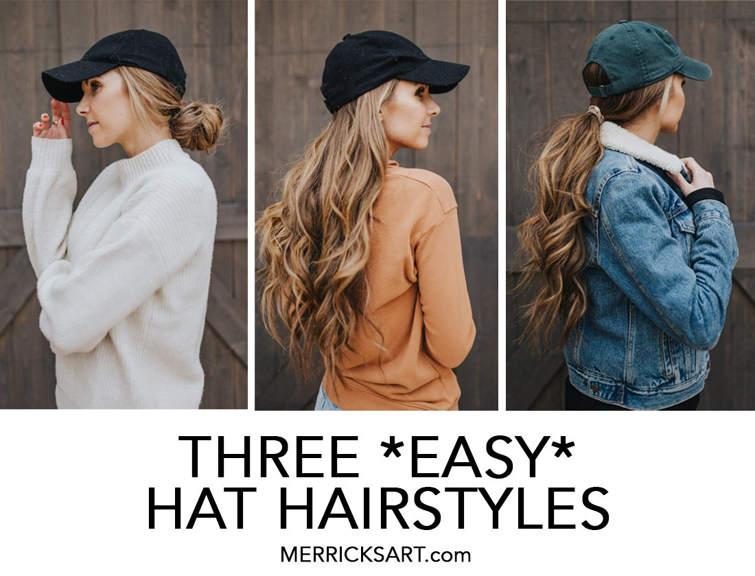 collage of hat hairstyles with baseball cap and curled hair