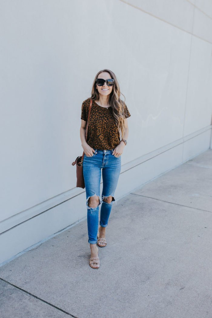 leopard t-shirt and distressed jeans