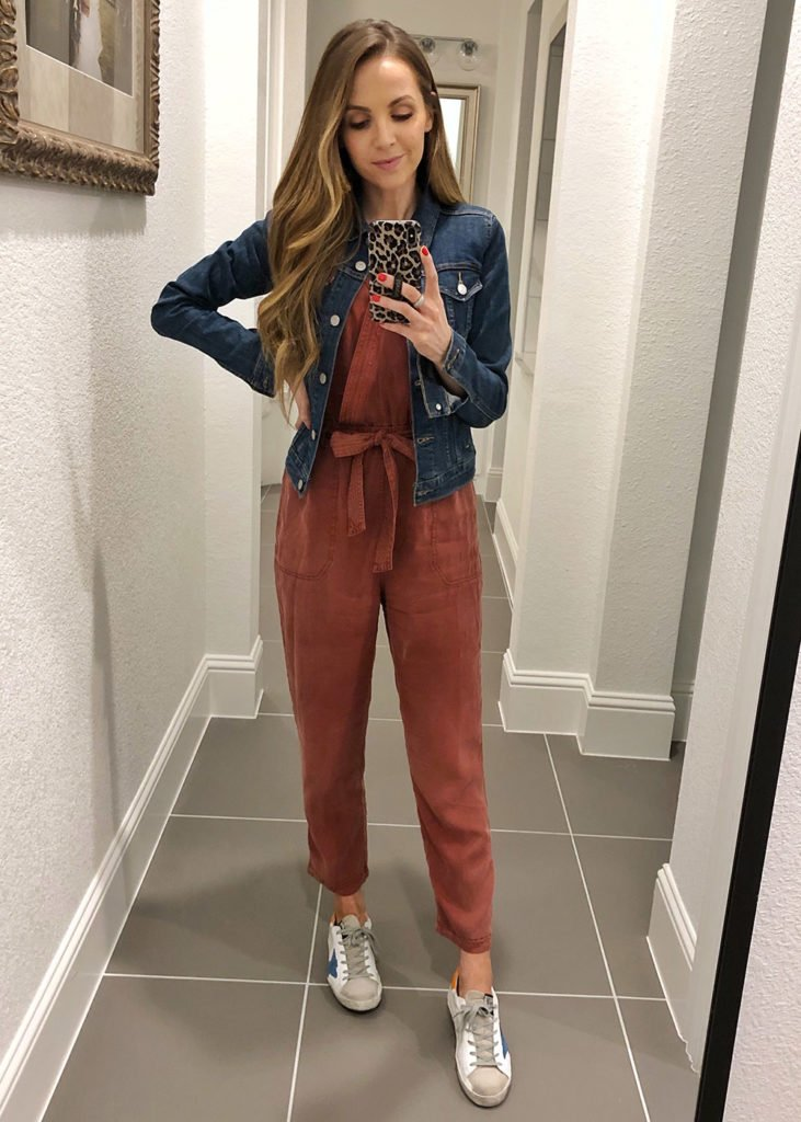 instagram outfits - jumpsuit and denim jacket