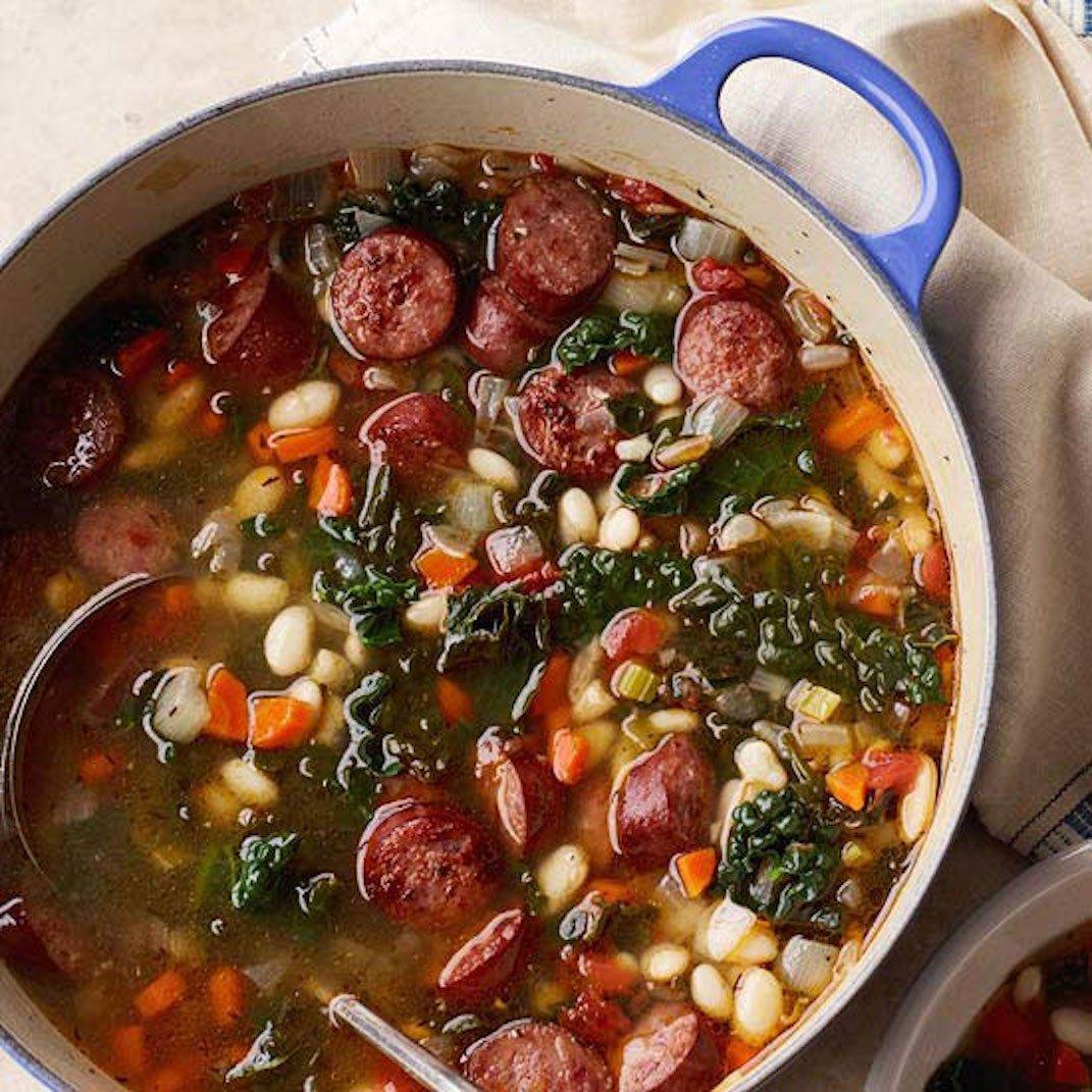 sausage, white bean, kale stew