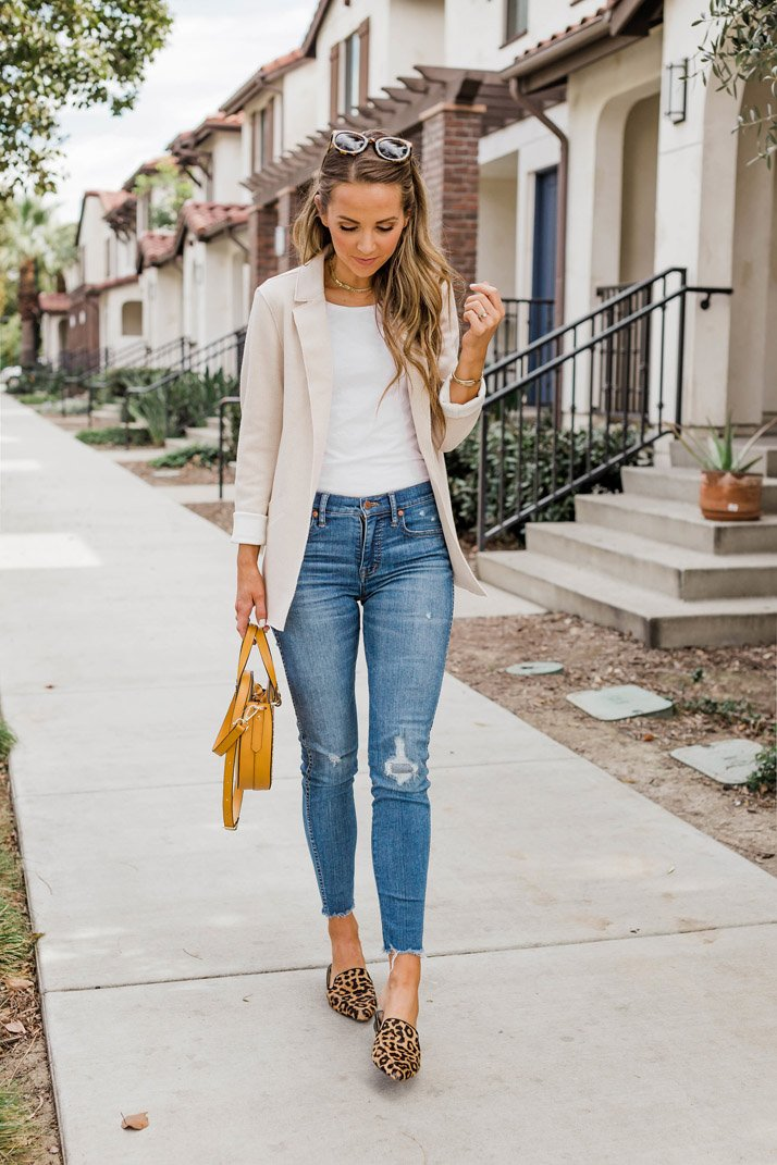 Blazer with white t-shirt and jeans