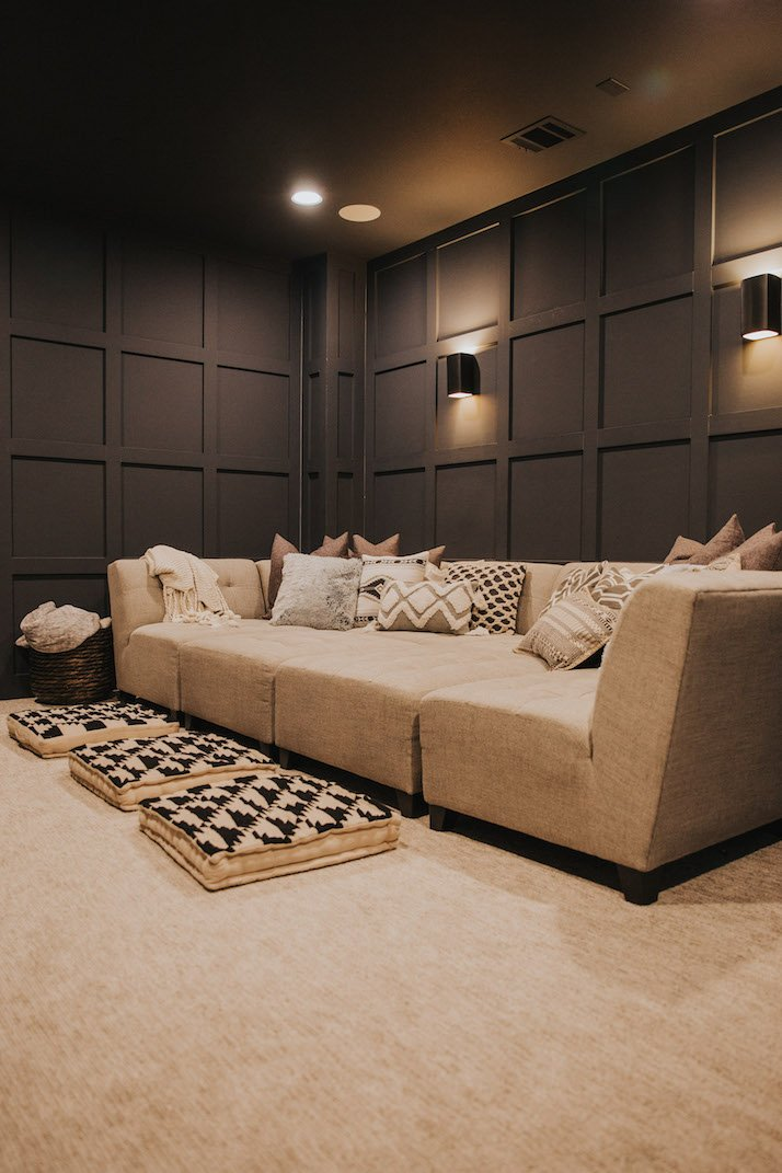 Our Dark Gray Home Theater Room With Wall Paneling Merrick S Art