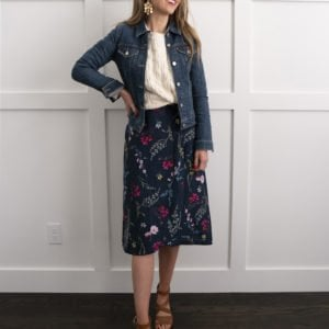 floral dress with cable knit cardigan and denim jacket