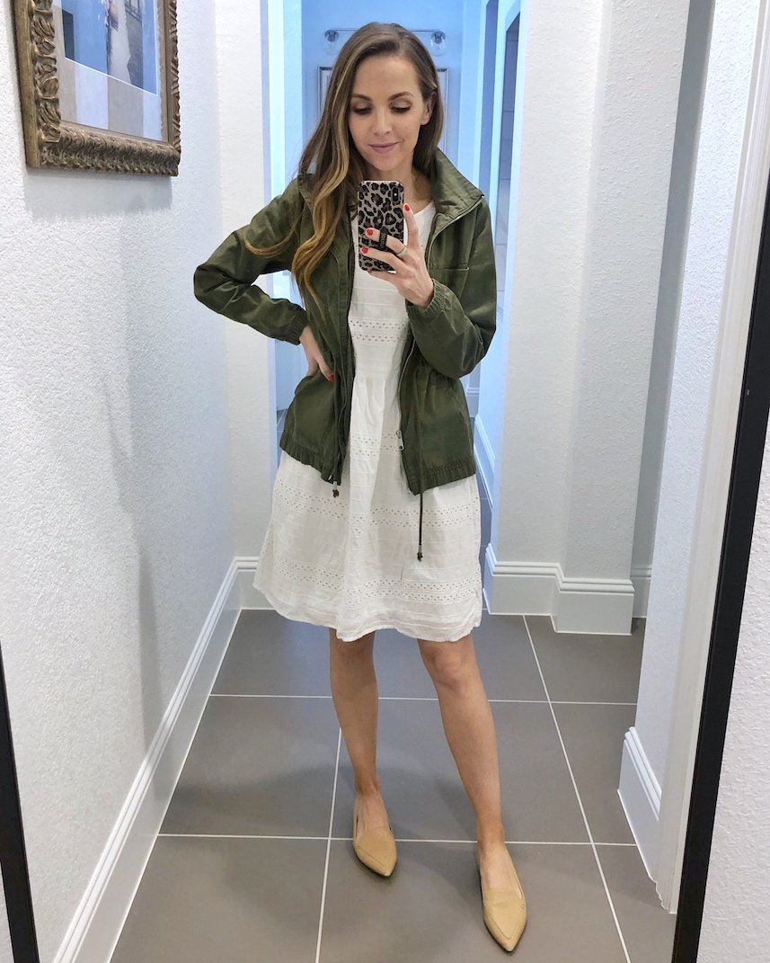 olive jacket with white dress and flats