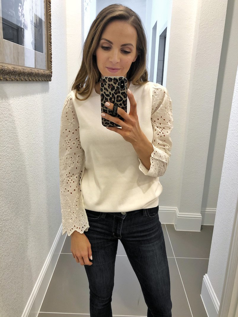 eyelet sleeve top LOFT
