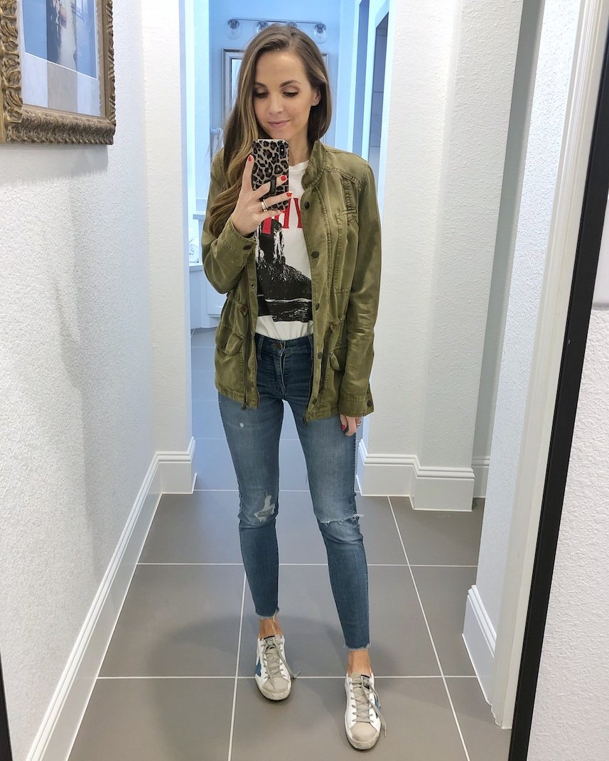 olive jacket with graphic tee