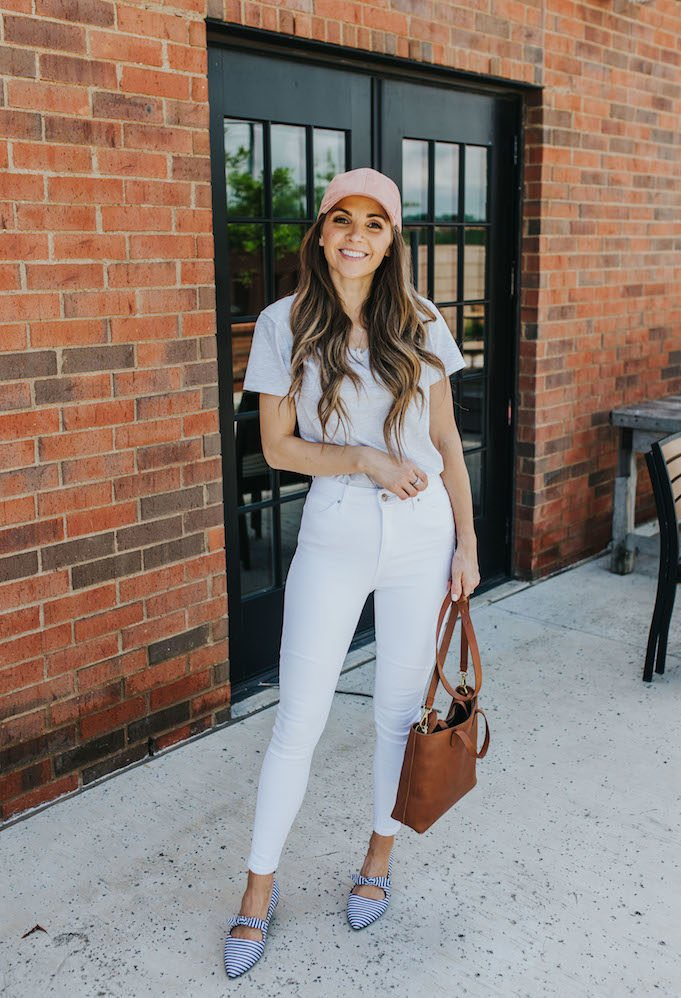gray t-shirt and white jeans outfit