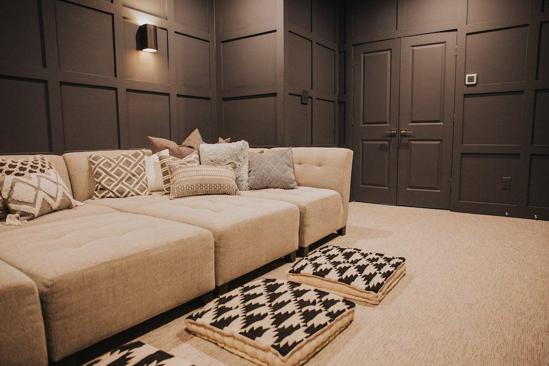 dark gray home theater